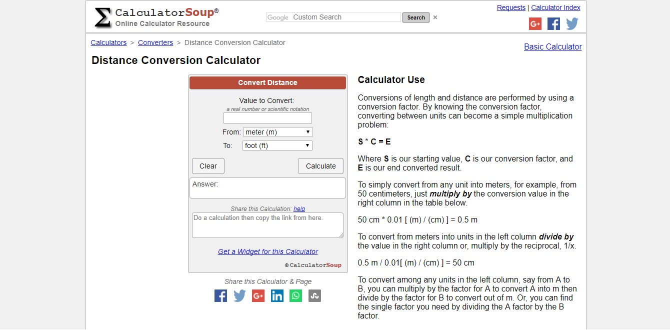 Screenshot Of An Official Site Calculatorsoup Calculators Conversions Distance Php