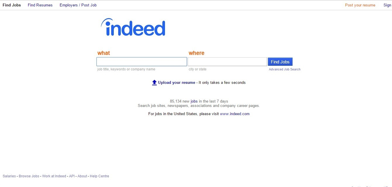 top 10 best websites to search jobs screenshot of an official site of indeed com