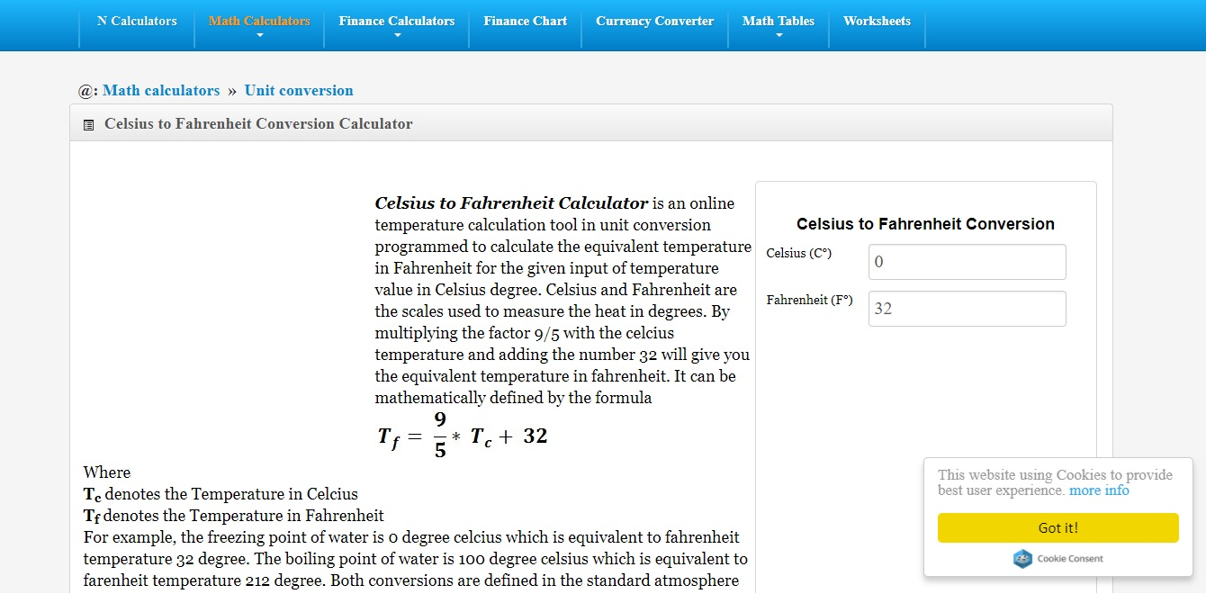 Fahrenheit to celsius conversion f to c celsius to screenshot of an official site of comunit conversioncelsius fahrenheit converterml nvjuhfo Images